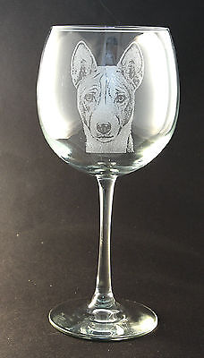New Etched Basenji on Large Elegant Wine Glasses