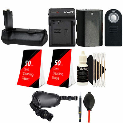 Battery Grip for Canon 70D 80D with LP-E6 Replacement Battery + Accessory Kit