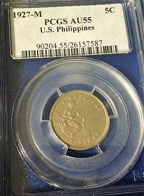 1927 M Five Centavos Us Philippines Au55 Pcgs