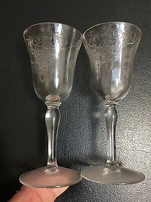 """2 Tiffin ARCADIAN Clear 3.5"""" Claret Sherry Cordial Stems Glassed"""