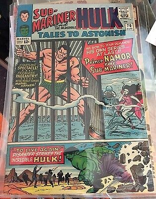 TALES TO ASTONISH # 70 1965  HULK/SUB-MARINER DOUBLE FEATURE BEGINS     7.0 cond