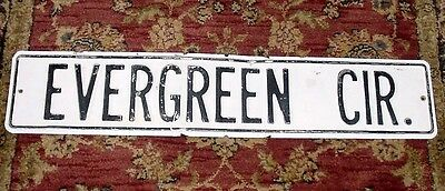 "Vintage STREET SIGN White Washed Metal Chippy Black Letters EVERGREEN CR 30""x6"""