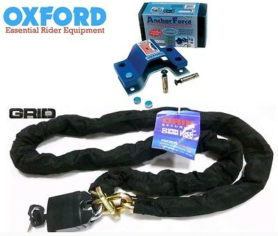 Oxford Anchor Force Motorcycle Ground Anchor Plus Grid 1.8M Chain Security Kit