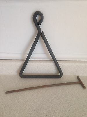Large Vintage Forged Wrought Iron Triangle Farm Bell/Dinner Bell With Digger