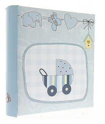 "Blue Slip In Photo Album Holds 200 6"" x 4"" Photos Memo Area Baby Boy Keepsake"
