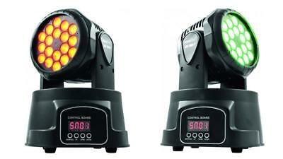 2x EUROLITE LED TMH-7 Moving Head Wash Movinghead RGB DMX Light DJ 18x 3W Set