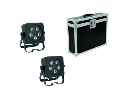 2x EUROLITE LED SLS-5 QCL 5x5W Floor + Transport Case Licht Set LED Scheinwerfer