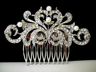 Silver Tone Flower Heart Hair Comb w/Faux-Pearls & Clear Crystals Wedding/Party