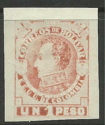 KOLUMBIEN BOLÍVAR 1879. 1 Peso Orange, Imperf on Medium Weißes Papier