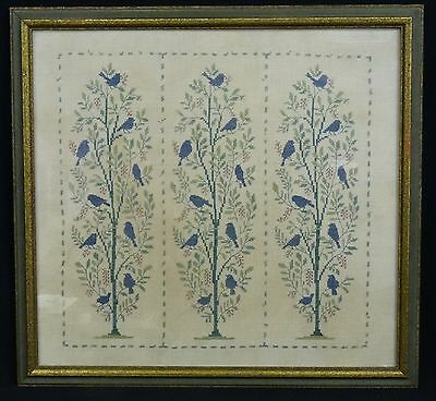 "ANTIQUE FRAMED CROSS STITCH NEEDLEWORK EMBROIDERY SAMPLER LINEN ~14.5"" x 13.5"""