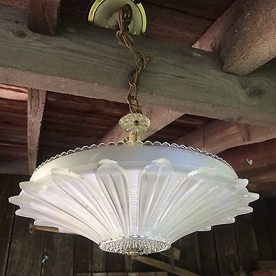 Antique Art Deco Sunflower Frosted Glass Light Fixture Ceiling Chandelier