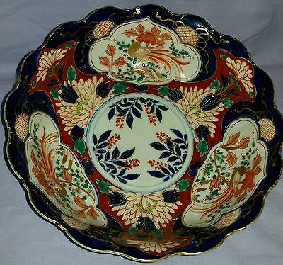 Large Antique 19Th Century Imari Hand Painted Display Bowl With Exotic Birds