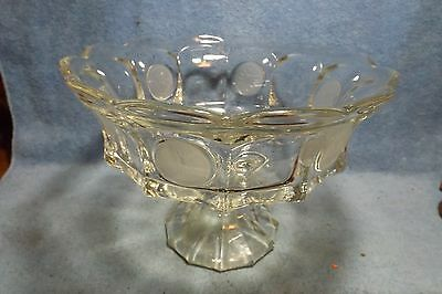 "Vintage Fostoria coin glass, frosted coin, footed fruit bowl, 3-piece mold, 9""."