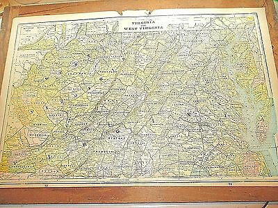 Large Antique 1896 Map of VIRGINIA & WEST VIRGINIA w/ Colored Counties