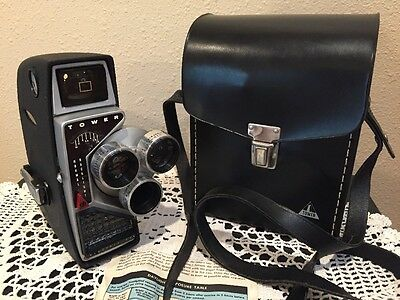 Vintage Tower Automatic Electric Eye 8mm Movie Camera Triple Lens w Leather Case