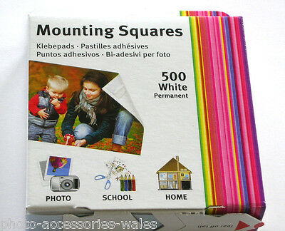 500 Double Sided Sticky Tabs Mounting Squares Photo Mounts Self Adhesive