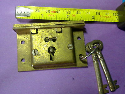 brass box lock, 64 mm, 4 lever, antique or vintage(LL6)