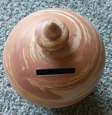 Vintage Brown Ceramic Hand Painted Coin Bank Rubber Stopper Bottom Estate Sale *