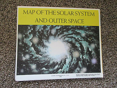 Large Vintage 1960 Book Enterprise Map Of The Solar System & Outer Space Zodiac