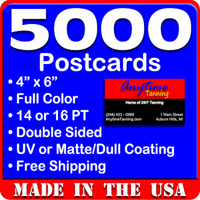 5000 Custom Full Color 4x6 14PT Postcards w/UV Glossy - Real Print Free Shipping