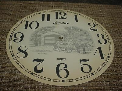 "Large 10"" Linden Clock Dial Enameled Style Covered Bridge Horse & Wagon   F244"