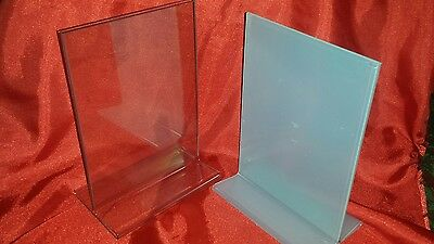 """Lot of 12 Top Loading 5"""" x 7"""" Clear Acrylic Sign Frames For Counter Top"""