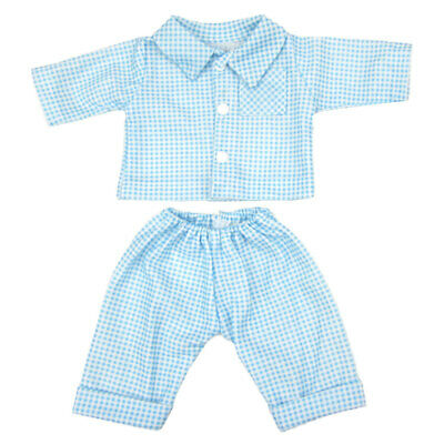 Blue Check Pajamas Nightwear Clothes Set for 18'' American Girl Journey Doll