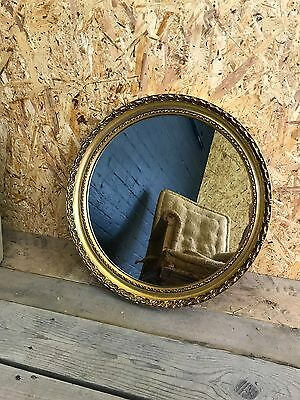 Beautiful Vintage Round Gilt Gold Gesso Framed Wall Mirror