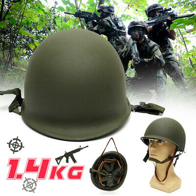 WW2 U.S Military Steel M1 Helmet With Netting Cover WWII Army Equipment Green