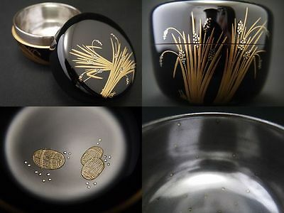Japanese Lacquer Wooden Tea Caddy Ear of rice makie Hira-Natsume GOLD GRAINS(607