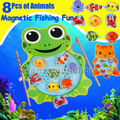 Magnetic Wooden Fishing Game Set Toy Rod 8 Fish Catch Hook Pull Kids Children UK