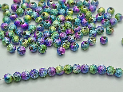 "500 Peacock Multi-Color Stardust Acrylic Round Beads 6mm(1/4"") Spacer Finding"