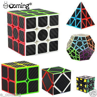 3x3x3 3d Gear Speed Cube Carbon Fiber Sticker for Smooth Magic Cube Puzzles New