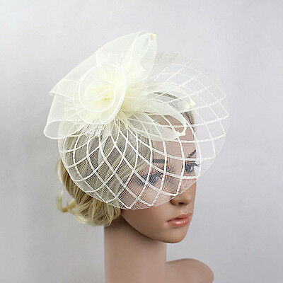 Trendy Women Feather Mesh Net Fascinator Hat Floral Headband Cocktail Party Prom
