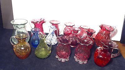 16 VINTAGE art glass HAND BLOWN Blenko Pilgrim Kanawha Crackle vase creamer LOT