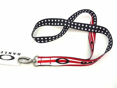 **New Oakley USA Flag Printed Lanyard with Tags BRAND GENUINE LANYARD KEYCHAIN