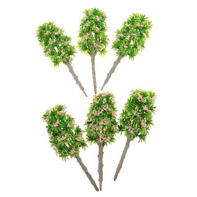 6x Pink Flower Model Tree 1:64 Architectural Model Supply Building Kits Toy