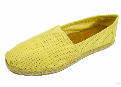Ladies Flat Yellow Slip-On  Holiday Comfy Espadrille Pumps Casual Shoes Uk 3-8