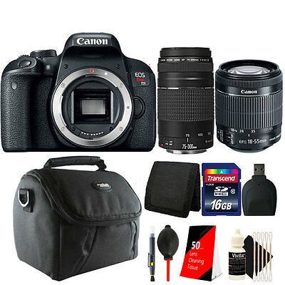 Canon EOS Rebel T7i / 800D 24.2MP DSLR Camera with 18-55mm + 75-300mm Lens Kit