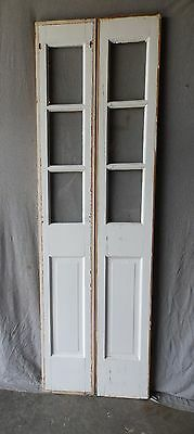 Pair Vintage Entrance Door Glass Sidelight 3 Lite Antique Window 12x80 107-17P