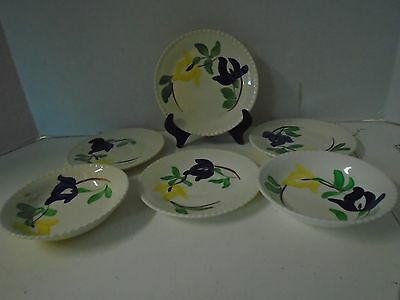 Blue Ridge Southern Pottery 6 Pieces Iris Blue Plates Bowls Hand Painted Flower