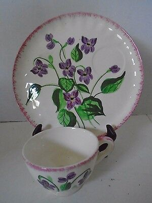 Blue Ridge Southern Pottery Violet Snack Set Plate Cup Hand Painted Flower