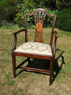George III Style Mahogany Open Arm Chair - Inlaid Back - Edwardian