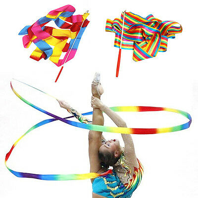 Dancing Ribbon Bright Color Rhythmic Art Gymnastics Ballet Streamer Twirling Rod
