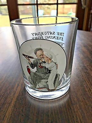 """Norman Rockwell Saturday Evening Post Glass/Tumbler """"Setting One's Sight"""" 1922"""