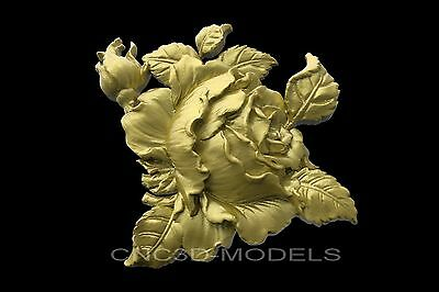 3D Model STL for CNC Router Engraver Carving Artcam Aspire Flowers Rose 8600