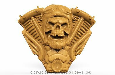 3D Model STL for CNC Router Engraver Carving Artcam Aspire Skull Biker 8607
