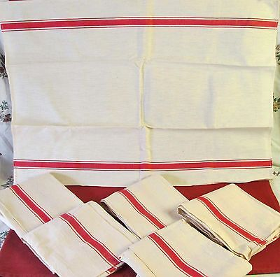 Pair (2) Vintage French Large Unused Metis Linen Tea Towels Red Stripe Kitchen
