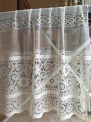 "Vintage 1920 Curtain Lace/ Fabric 1 Yard 12 X 28 ""Floral for Home Decor, Craft"