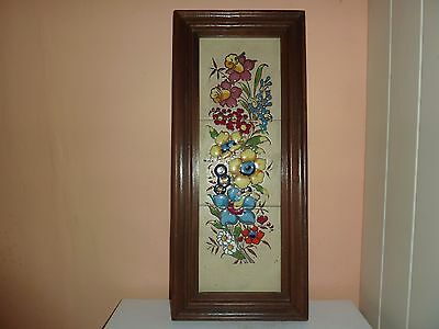 Vintage Three Tile Picture Of Flowers & Leaves In A Wooden 52.7 By 22.8 Cm Frame